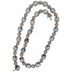 18 Karat White Gold, Aquamarine '51.60 Carat', Diamond '5.31 Carat' Necklace