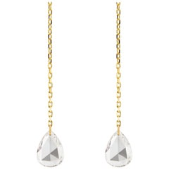 Jona Floating White Diamond 18 Karat Yellow Gold Earrings