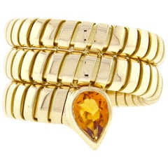 Bulgari Tubogas Gold Citrine Wrap Ring