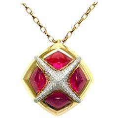 Valente Milano Rubelite Tourmaline and Pave Diamond Rose Gold Necklace