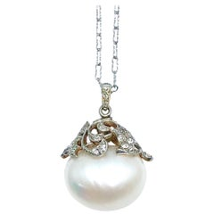 South Sea Pearl and Diamond Platinum and Gold Pendant Necklace