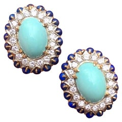 Stunning Estate 14 Karat Gold Turquoise Lapis 2.00 Carat Diamond Drop Earrings
