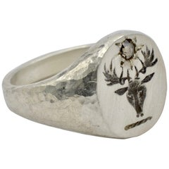 Sterling Silver Signet Ring Dear Head with Rose Cut Brown Diamond