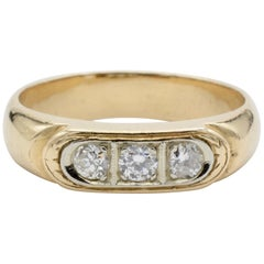 Men's Three-Diamond and 14 Karat Gold Ring, circa 1970
