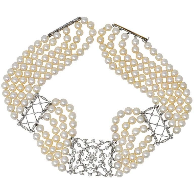 1950s 3.50 Carat Diamond Cultured Pearl Platinum Choker Necklace