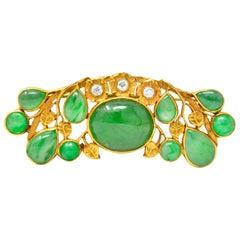 Art Nouveau Diamond Jadeite Jade 18 Karat Gold Brooch GIA