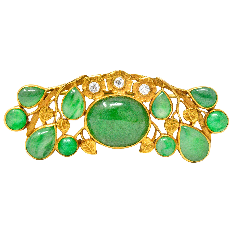 Art Nouveau Jade Diamond 18 Karat Gold Vined Floral Brooch GIA