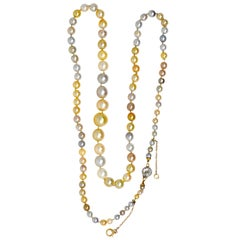 Victorian Multi-Color Natural Saltwater Pearl Diamond Platinum Gold Necklace