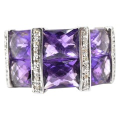 Diamond and Amethyst 14 Karat White Gold Ring