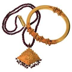 22K Yellow Gold Ornate Bangle Bracelet & Ruby Gold Pendant Necklace Set