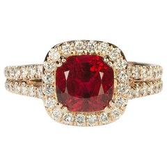 Burmese Red Spinel in Rose Gold Ring