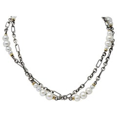 David Yurman Cultured Pearl Sterling Silver 18 Karat Gold Necklace