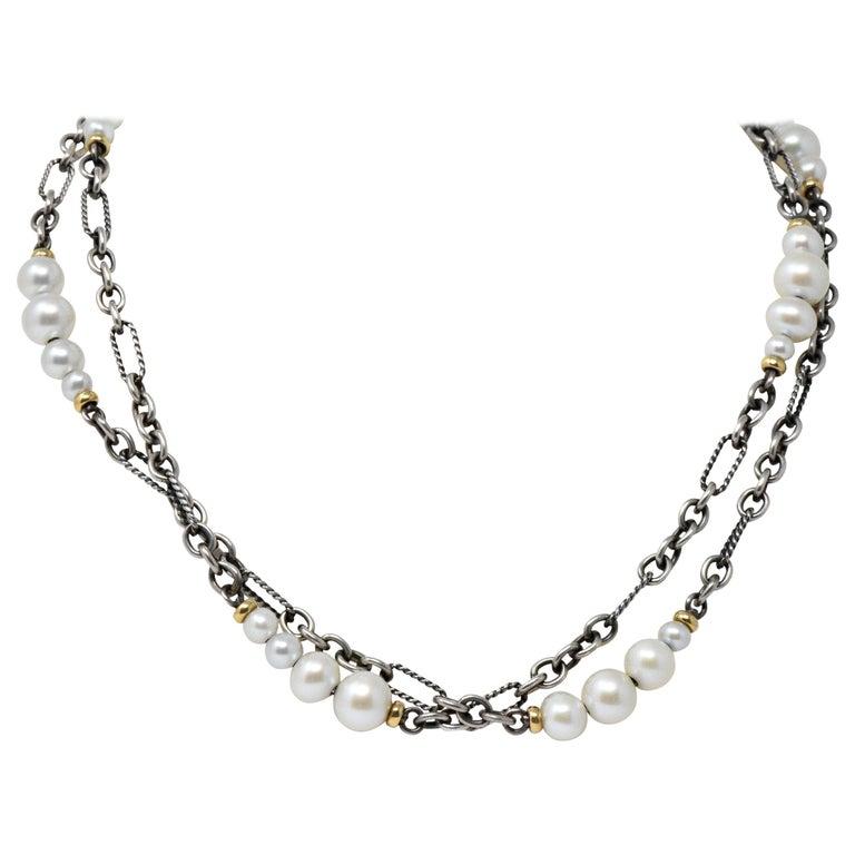 David Yurman Cultured Pearl Sterling Silver 18 Karat Gold Necklace