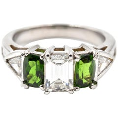 Diamond and Green Garnet 18 Karat White Gold Band