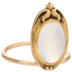 Antique Art Nouveau Moonstone Conversion Ring 10 Karat Gold Vintage Jewelry
