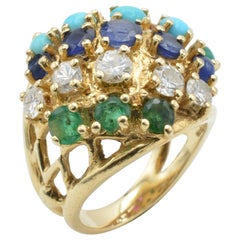 Multi-Color Stones and Diamond 14 Karat Gold Ring, 1970s