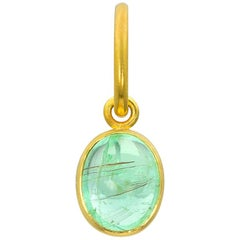 Loren Nicole Gold Green Paraiba Tourmaline Cabochon Charm Pendant One of a Kind