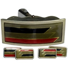 French Art Deco Men's Enamel Cufflinks with Matching Buckle