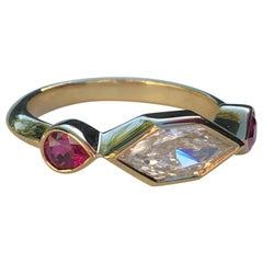 GIA Certified Duchess Cut Diamond and Gemfields Ruby 18 Karat Gold Ring