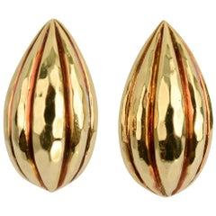 Henry Dunay Hammered Gold Pear Shaped Earrings