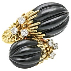 Kutchinsky Onyx Diamond 18 Karat Yellow Gold Bypass Ring
