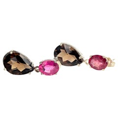 Pink Tourmaline and Smoky Quartz Sterling Silver Earrings
