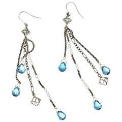 David Yurman Diamond Blue Topaz Pearl Sterling Silver Confetti Earrings