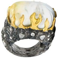 Fred Leighton 1.45 Carat Diamond Baroque Pearl Sterling Silver 18 Karat Ring