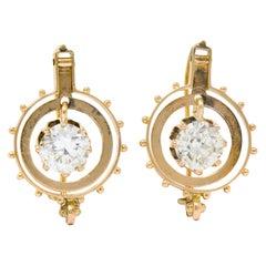 Victorian 1.95 Carat Diamond 14 Karat Rose Gold Drop Earrings GIA