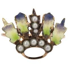 Antique Art Nouveau Conversion Ring Enamel Leaf 14 Karat Gold Fine Jewelry