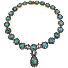 Turquoise, Sapphire, and Diamond 18 Karat Necklace, 0.85 Carat Diamond
