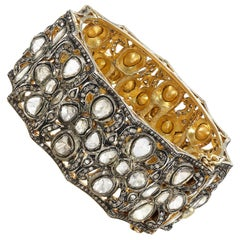 14k Gold and Polki Diamond Mughal Style Bangle Bracelet
