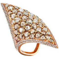 Rose Gold Brown Diamond and Brown Rose Cut Diamond Cocktail Ring