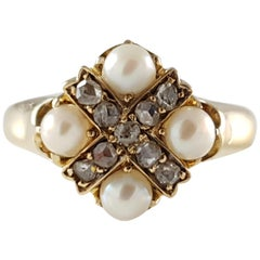 Victorian 18 Karat Yellow Gold Pearl and Diamond Cruciform Ring