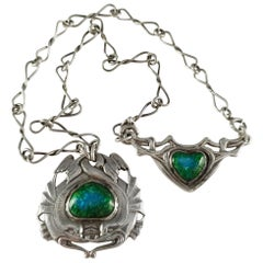 London 1904 Arts & Crafts Silver and Enamel Necklace by Ramsden & Carr
