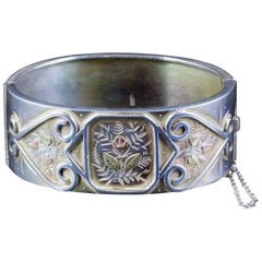 Antique Victorian Forget Me Not Bangle Silver, circa 1880
