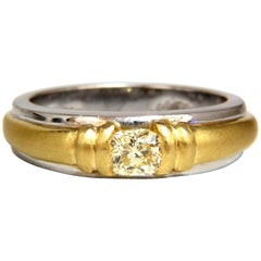 .60 Carat Natural Fancy Yellow Diamond Men's Ring 18 Karat Platinum