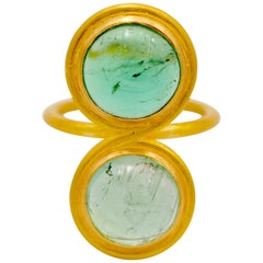 Two Shades Green Tourmalines 22 Karat Gold Ring