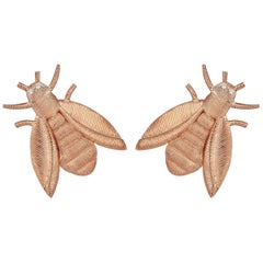 Rose Gold Diamond Bee Stud Earrings
