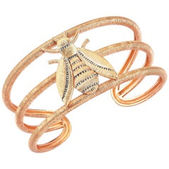 Rose Gold Diamond Bee Cuff Bracelet