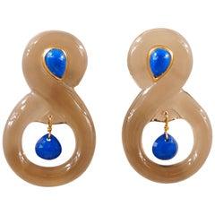 Scrives Smoky Quartz Lapis Lazuli 22 Karat Gold Earrings