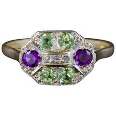 Antique Victorian Suffragette Ring Diamond Amethyst Peridot 18 Carat Gold