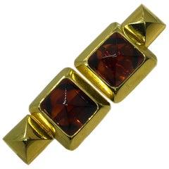 Original 1990 Iconic Pomellato Pyramid Shaped Citrine Yellow Gold Cufflinks