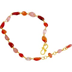 Orange Red Spinels 22 Karat Gold Bracelet