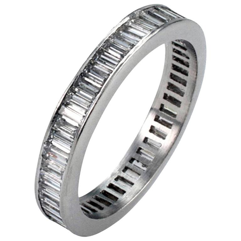 a band stylish baguette princess set in diamond cut eternity bands ladies ring wedding platinum