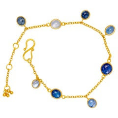 Blue Natural Sapphires 22 Karat Gold Bracelet
