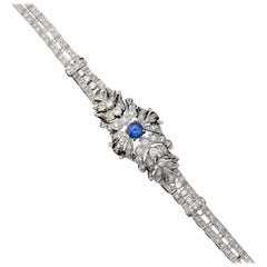 Art Deco 1940s Platinum 4.52 Carat Natural Blue Sapphire VS Diamond Bracelet