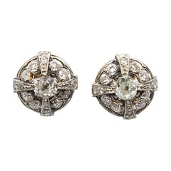 Contemporary Handmade 18 Karat Gold Diamond Earrings
