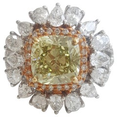GIA 5.22 Carat Natural Deep Gray Yellow Cushion Brilliant And White Diamond Ring
