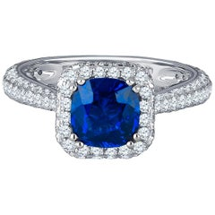 1.74 Carat Ceylon Sapphire Set in 1.30 Carat Diamond Ring GIA Report Included